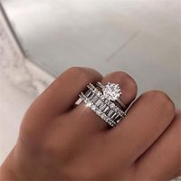 Unique 2PCS Couple Rings Classical Jewelry Six Claw Real 925 Sterling Silver White Topaz Stack CZ Diamond Women Wedding Bridal Ring Set