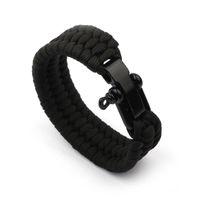 Charm Bracelets Arrival Mens Stainless Steel Anchor Shackles Black Leather Bracelet Surf Nautical Sailor Men Wristband Fashion Jewelry SL078