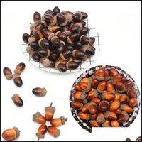 Dekoratif Çiçekler Çelenkler Şenlikli Parti Malzemeleri 20 adet / grup 3 cm Sahte Meyve Süsler Simülasyon Acorn Oak Somun Yapay Bitki Vivid Reali