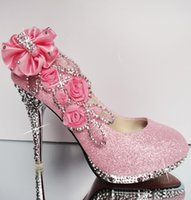 Pink Diamond Flowers Wedding Shoes Flower Pumps High Heels Bridal Shoes 8cm 10cm 11cm Prom Shoes for Lady Party