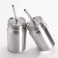 500-700ml simple double paille en acier inoxydable et étanche à l'épreuve de la bouteille d'eau de la bouteille d'eau en acier inoxydable en acier inoxydable Tumbler Mason Jar avec