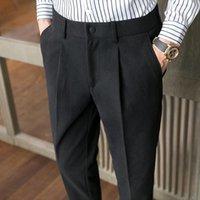 Men's Suits & Blazers 2021 Korean Slim Woolen Casual Pants Men Fit Business Dress Solid Color Office Social Wedding Trousers Costume Homme