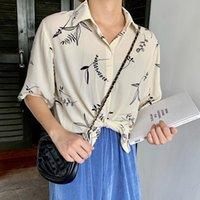 Casual Gevşek Yaprakları Baskılı Turn-down Yaka Kısa Kollu Tek Göğüslü Şifon Bluzlar Kadın Bluz
