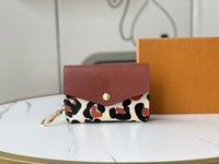 brand designer women hort wallets card holder classic Leather Famous wristlets coins purses Fashion high quality coin purse men wallets 606AP34