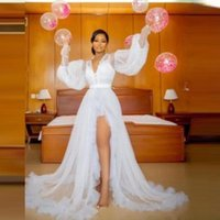 Casual Dresses Side Split Tulle Puffy Sleeves Women Robes Formal Bridal Maternity Robe For Po Shoot Only Sell