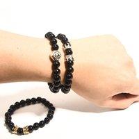 Bijoux à la main en gros Bracelet pour hommes Tête de lion et bracelet de couronne 8mm Bracelet d'agate noire Bracelet