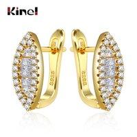Kinel Na moda Cúbica Zircônia Eye Forma Brincos Para As Mulheres Jóias Fine Dubai Ouro Presente Requintado