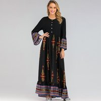 African Dresses For Women Plus Size Flare Sleeve With Buttons Maxi Dress Spring Fashion Print Elegant Africa Party Vestidos Robe Ethnic Clot