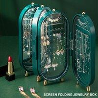 Caja de almacenamiento de joyas 4 Puerta 240 orificio Pendiente grande Pantalla Pulsera Collar Pulsera Contenedor Plegable Porta Pantalla Rack
