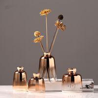 Nordic Glass Vase Creative golden Gradient Dried Flower Vase Desktop Ornaments Home Decoration Fun Gifts Plants Pots Furnishing