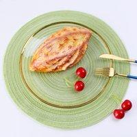 35 cm redondo tecida placemats mesa de jantar resistente ao calor placemat wipable não-deslizamento lavável cozinha tapetes almofada de mesa de festa de festa 575 R2