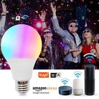 المصابيح اللاسلكية Tuya Wifi الذكية LED لمبة عيد الميلاد إضاءة المنزل مصباح E27 ماجيك RGB تغيير لون ضوء عكس الضوء اليكسا / جوجل
