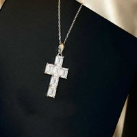 2022 Hot Brand Pure 925 Sterling Silver Jewelry For Women Cross Big Diamond Pendant Necklace Cute Luxury Top Quality Fine Design