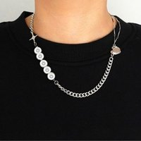 Pendant Necklaces Pearl Star Cross Necklace For Women Initial Choker Stainless Steel Jewelry Chain