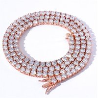 7inch-24inch Hip Hop Sparkling Luxury Jewelry Tennies Chain Pendant 3MM 4MM 5MM 5A Zircon CZ Diamond Gemstones Party 14KT White Rose Gold Fill Women Men Necklace Gift