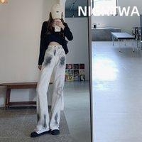 Nightwa Kadın Tie Boya Jean Yüksek Bel Geniş Bacak Denim Giyim Streetwear Vintage Kalite Moda Harajuku Düz Kovboy Pantolon