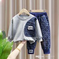 Kids Designer conjuntos de roupas moda outono menino impresso manga longa esportes terno crianças desgaste ao ar livre camisolas + roupas de calças s1592