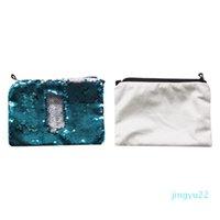 Sublimación Lentejuelas en blanco Bolsas cosméticas Transferencia de calientes Impresión de la bolsa de maquillaje Consumibles Venta al por mayor Nuevos estilos 16 * 23 cm