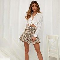 Natural MSFILIA Moda streetwear acima de saias de verão de leopard faixas