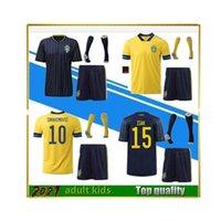 Herren 2021 Schweden Fußball-Trikots Set 20/21 Nationalmannschaft Ibrahimovic Forsberg Larsson Ekdal Isak Home Football Hemden Erwachsene Kinder Kit + Socken
