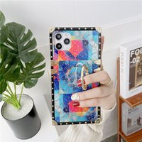 Geometry Square Phone Case for iPhone 13 12 Mini 11 Pro Max XR XS 6s 7 8 Plus Full Protective Soft Diamond Bracket Back Cover with Finger Ring Holder