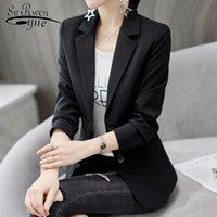 Women's Jackets Korean Fashion Women Jacket Casual White Black Long Sleeve Office Lady Clothing Autumn Winner Slim Coat 5029