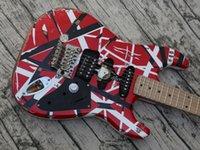Guitare électrique, vieillie Eddie Van Halen Edward Eddie Van Heavy Strong Relic rayé Frankie Electric Guitare, St Shape Col, Floyd Rose Tremolo Noix de verrouillage