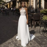 Chiffon Wedding Dress 2021 Sexy Halter Boho Bride Dresses Appliqued Lace vestido de casamento Beach Wedding Gowns
