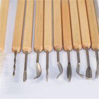 Diy الفخار الطين الشمع النحت نحت أدوات مقبض صغير الخشب الفن الحرفية carivers بوليمر نحت كيت 11 قطعة / مجموعة 531 r2