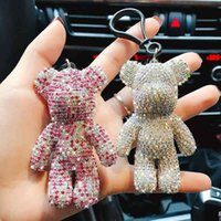 Creative Creative Diamond Studded Bear Boneca Cute Homens Carro Keychain Bag PendantFashion é pequeno AdorN
