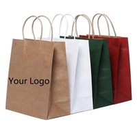 Custom Logo Gift Paper Packing Bag Craft Packaging Personalization Brand Business Shopping Ladies Clothes Package Bags 2021 Wrap