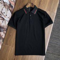 21ss Polo Shirt Hombre camisetas Bordado a rayas Impresas letras de manga corta CAMISETA CLÁSICO CLÁSICO CAMPIA CAMISETA HOMBRES MENS 100% algodón M-2XL