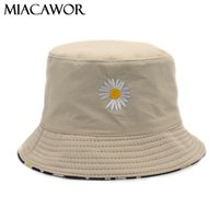 Stickerei-Frauen-Hut Reversible Bucket Cotton Beach Sun Hüte Bob Chapeau Femme Drucken Panama Fischer M85 Wide Brim