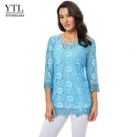 Женский двухсекционный набор блузки, выдолбленные туники туники вокруг шеи неба голубой кружевной цветочный узор блузка летняя рубашка плюс размер T200321