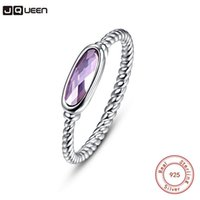 Wedding Rings JQUEEN Simple Style Twisted 100% 925 Sterling Silver Ring Oval Violet Stone Finger For Women Engagement Party Accessories