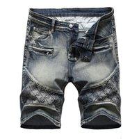 Männer Designer Ripped Jeans Patchwork Blue Denim Shorts Herren Sommer Stretchy Slim Fit Beunruhigte Beiläufige Retro Große Größe WASHED MOTO LOCH BIKER HOSE JB397