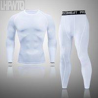 تشغيل مجموعات 2 قطعة سلس الرجال ضغط الركض مجموعة تجريب الملابس الرياضية اللياقة البدنية طويلة جونز طماق الشتاء الحرارية داخلية سوي