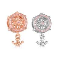 925 Sterling Silver Rose Gold Anchor & Rudder Zirconia Pendant Bead Fit Original Pandora Charm Bracelet Making Women Jewelry Berloque