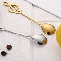 Spoons 304 Stainless Steel Spoon Musical Notes Coffee Stirring Mug Music Bar Ice Cream Creative Tableware Gift