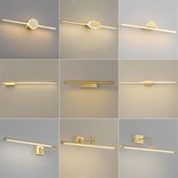 Post-modern Copper Led Wall Light Nordic Luxury Headlight Toilet Dresser Vanity Cabinet Lamp Bathroom Bedroom Lamps