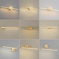 Post-modern Copper Led Wall Light Nordic Luxury Headlight Toilet Dresser Vanity Cabinet Lamp Bathroom Bedroom Lamps