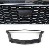 Autozubehör Front Logo Kreis Trim Aufkleber Abdeckung Rahmen ABS Carbon Chrom Außen Dekoration für Cadillac XT4 2018-2020