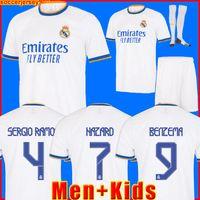 طقم ريال مدريد بالقميص جيرسي لكرة القدم قميص أخطار SERGIO RAMOS BENZEMA VINICIUS camiseta كرة القدم الزي الرسمي للرجال + الاطفال