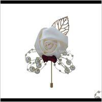 Булавки, броши Jewelry Prestry Pride Gressagroom и невесты Поставки Искусственные Стернальные Цветочные Брошь Свадебные Церемония 17 Цвета Штырящие Доставка 2021 6