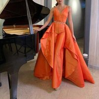 2022 Orange Spaghetti Strap Jumpsuit Evening Dresses Detachable Train Outfit Celebrity Gown Bead Satin Womens Special prom dress with pant suit