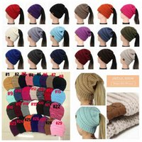 29 Colors Women CC Ponytail Caps CC Knitted Beanie Fashion Girls Winter Warm Hat Back Hole Pony Tail Autumn Casual Beanies 50pcs