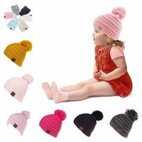 CC Beanie Kids Knitted Hats Kids Chunky Skull Caps Winter Cable Knit Slouchy Crochet Hats Outdoor Warm Beanie Caps 11 Colors 50pcs