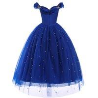 Prenses Külkedisi Giydir Giysileri Kız Kapalı Omuz Pageant Balo Çocuklar Deluxe Kabarık Boncuk Cadılar Bayramı Partisi 805 V2