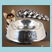 Bowls Feeders Home & Gardenclassical Stainless Steel Dog Foods Water With Skidproof Ring Pet Feeding Bowl Pets Supplies Drop Delivery 2021 M