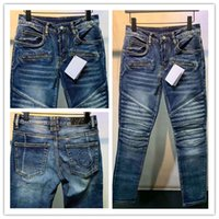 Herren Jeans Luxurys Designer Blue Stripe Design Full Five-Sterne Black Hose Brief Bein Classic Applique Mode Löcher Motorrad Biker Slim Skinny Weced W28-W40
